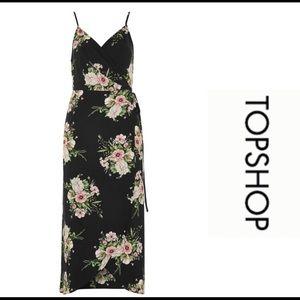 TOPSHOP Black Floral Midi Wrap Dress - SIZE 2